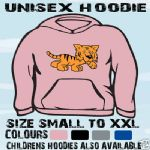 CUTE CARTOON TIGER UNISEX HOODIE HOODED TOP